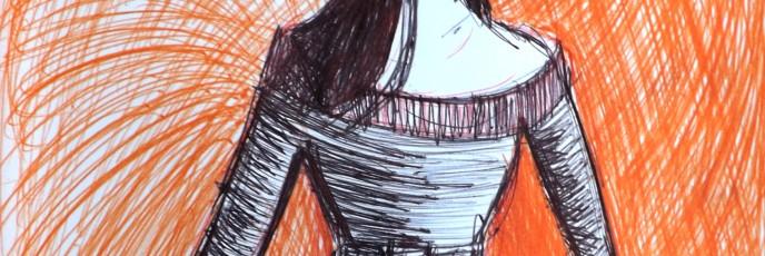 femme_fond_orange_traits